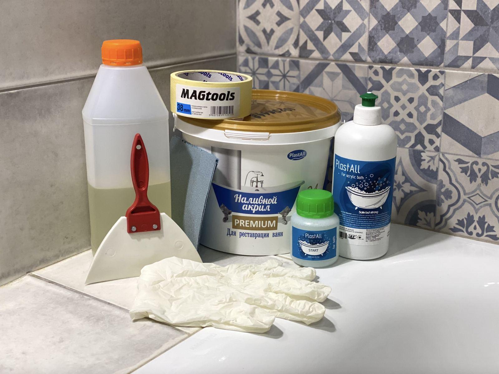 Акрил для реставрации ванн ванной Plastall